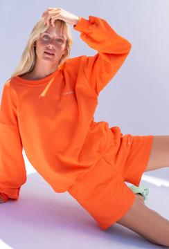 CALIstyle LA Girl Sweatshirt & Short Set In Orange
