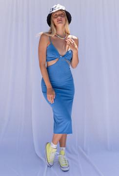 CALIstyle Slice Of Life Midi Dress In Blue - Back In Stock