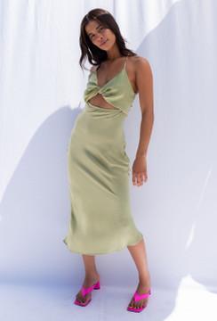 CALIstyle Higher Ground Satin Midi Dress In Sage Green