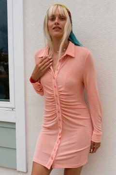 CALIstyle Summer Evenings Ruched Mini Dress In Orange Sherbert