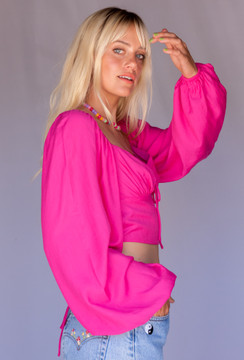 CALIstyle Into the 90's Top Open Back Top In Hot Pink