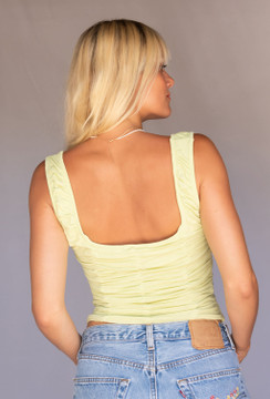CALIstyle Elena Ruched Corset Tank Top In Celery
