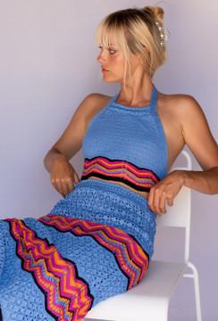 CALIstyle Serafina Crochet Set In Blue Multi