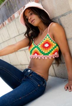CALIstyle Caribbean Days Crochet Crop Top In Multi