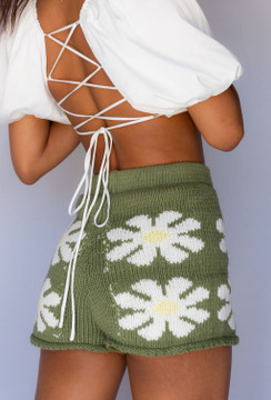 CALIstyle Elena Lace Back Puff Sleeve Crop Top In White