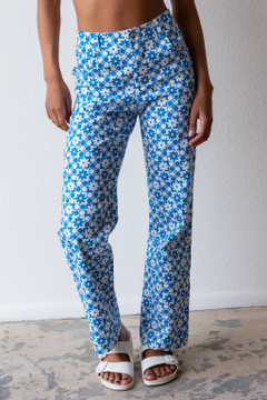 CALIstyle Field of Dreams Pant/Jean In Blue Floral