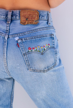 Vintage x Resurrection One Of A Kind 501 Levi's Hand Embroidered Jeans