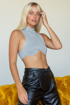 CALIstyle Next Level Crop Top In Grey