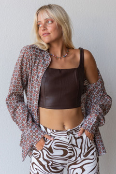 CALIstyle We Love Neutrals Leather Corset Top In Chocolate