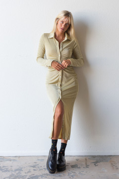 CALIstyle Fall Evenings Ruched Midi Dress In Dusty Sage