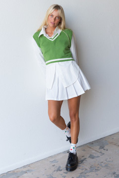 CALIstyle Paris In A Day Pleated Mini Skirt In White - Restocked