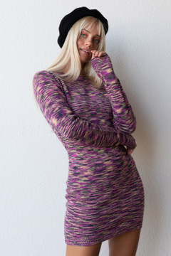 CALIstyle French Mood Knit Dress In Orchid Multi