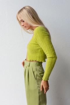 CALIstyle Seasons Best Fuzzy Cardigan Sweater In Lime