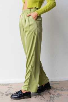 CALIstyle Giselle Trouser Pant In Celery Green Satin