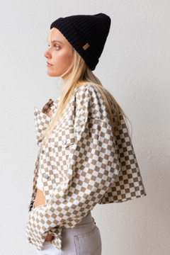 CALIstyle  Fall Vibes Checkered Denim Jacket In Brown/White