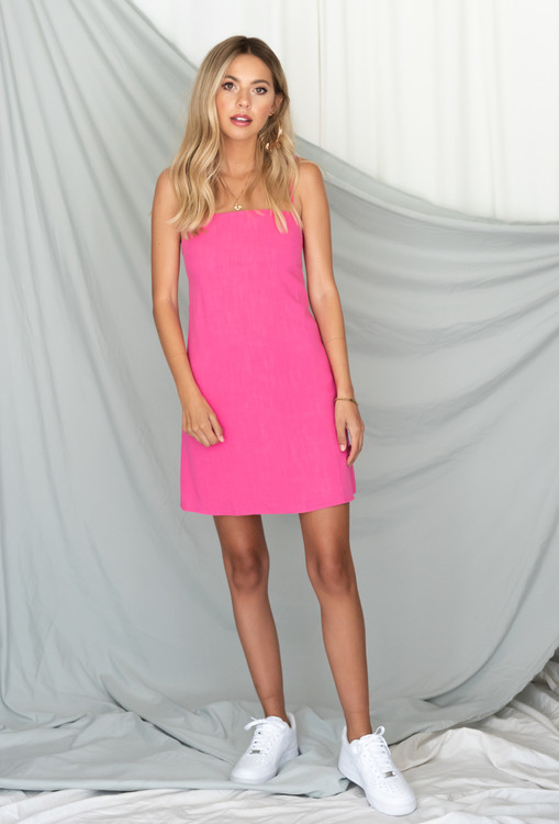 CALIstyle Shang Gra La Mini Dress In Hot Pink