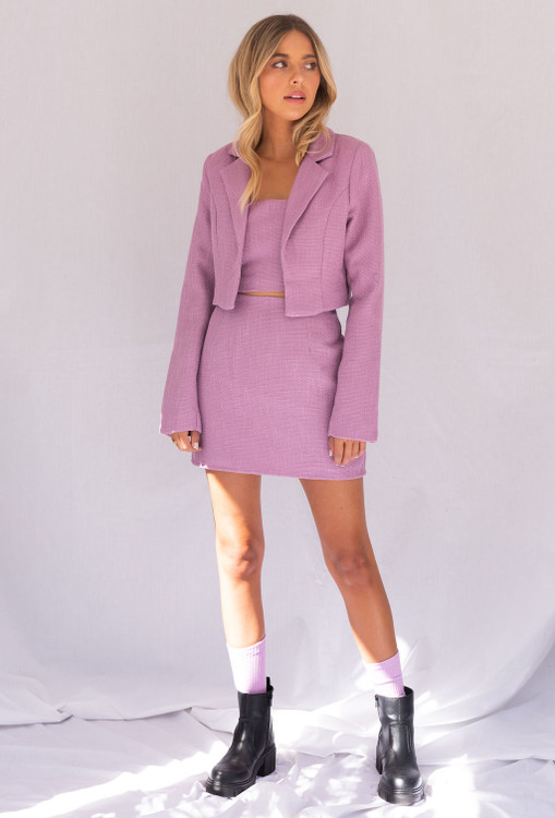 CALIstyle Game Changer Tweed Mini In Lavender Worn with the Game Changer Blazer & Crop Top Set