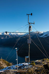 Remote weather station at Snettisham Hydroelectric Power Plant in Juneau, Alaska