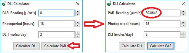 The Apogee Connect DLI calculator can also determine the target PAR value to achieve a desired DLI value