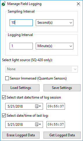 Apogee Connect Manage Field Logging Window