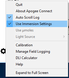 Apogee Connect Immersion Settings for underwater PAR measurements