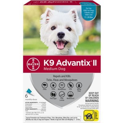 Advantix II for Dogs 11-20 lbs, 6 Month Supply