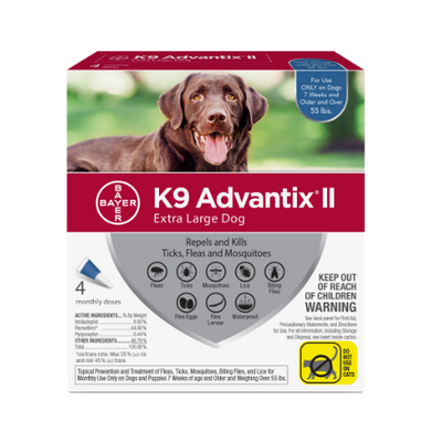 K9 Advantix II - Extra Large Dog (over 55lbs, 4 dose card)