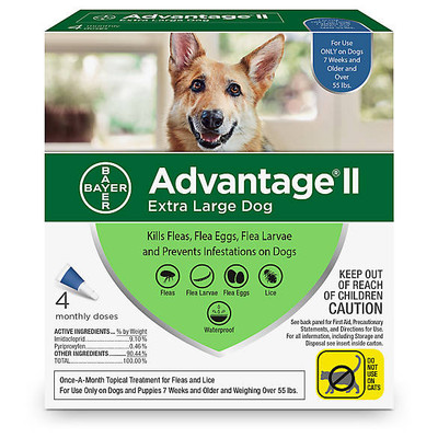 Advantage II for Dogs Over 55 lbs, 4 Month Supply