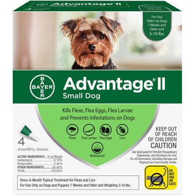 Advantage II for Dogs 3-10 lbs, 4 Month Supply