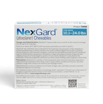 Nexgard Chewables for Dogs 10.1-24 lbs (Blue Box)