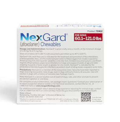 Nexgard Chewables for Dogs 60.1-121 lbs (Red Box)