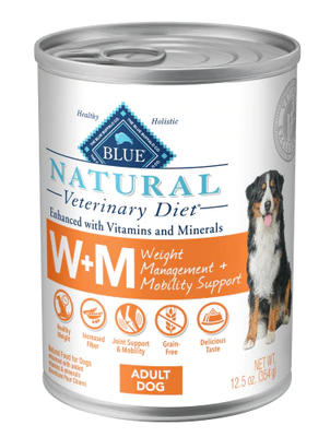 Blue Natural W+M Weight Management + Mobility Support Canned Dog Food (12/12.5 oz Cans)