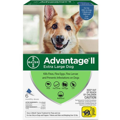 Advantage II for Dogs 55 lbs and Over,  6 Month Supply
