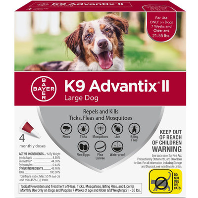 Advantix II for Dogs 21-55 lbs, 4 Month Supply