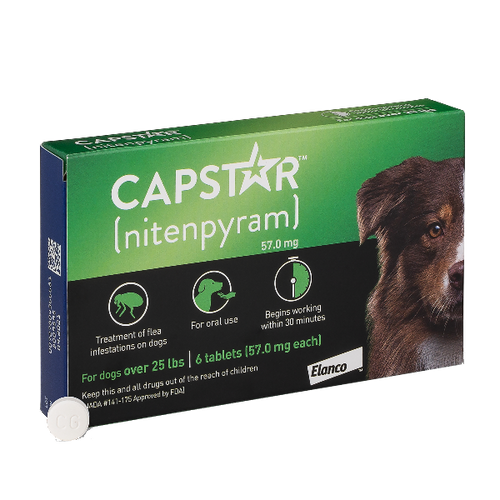 Capstar Tablets for Dogs (25.1 - 125lbs, 6 dose card)