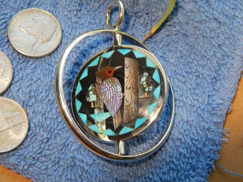 Zuni H.M. Coonsis Silver Stone Shell Gem Reversible Inlay Birds Pendant  Art