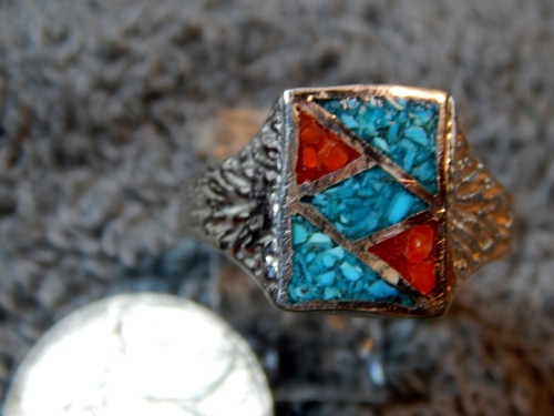 Mens Sterling Silver Turquoise & Coral Mosaic Inlay Ring size 13 1/2 new