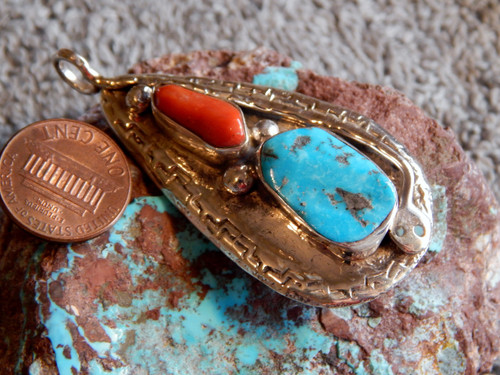 Turquoise Coral Sterling Silver Snake Pendent By Zuni Jude Candelaria (Effie)