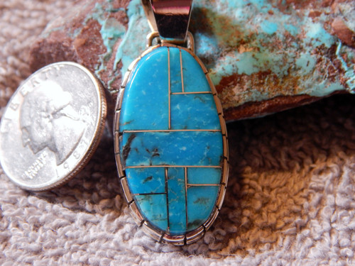 New Sterling Silver Kingman Turquoise  Pendant By Navajo Ray Jack