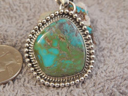 New Blue Green Bisbee Turquoise Sterling Silver Pendant Navajo Geraldine James