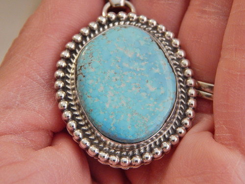 New Sky Blue Bisbee Turquoise  Sterling Silver Pendant Navajo Geraldine James