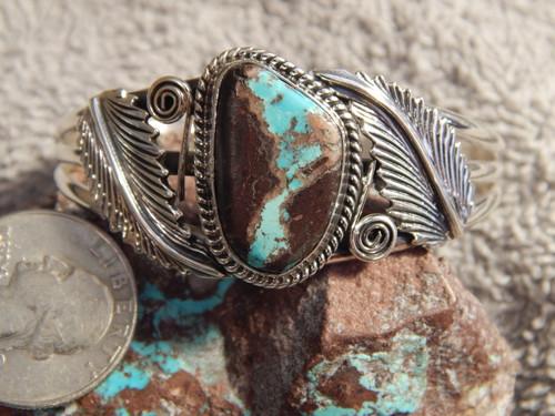 Bisbee Turquoise Sterling  Silver Ladies Bracelet By Navajo Harold Tahe