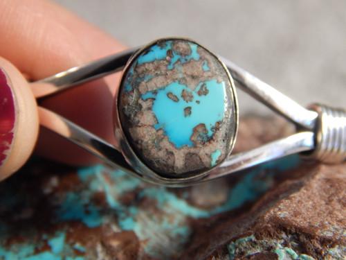 Bisbee Turquoise Sterling Silver Ladies Bracelet Navajo Harold Tahe