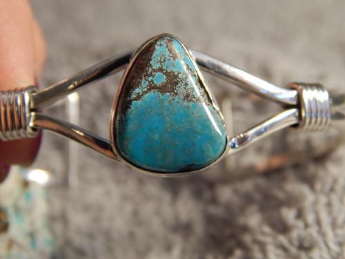 Smokey Bisbee Turquoise Sterling Silver  Ladies Bracelet Navajo Harold Tahe