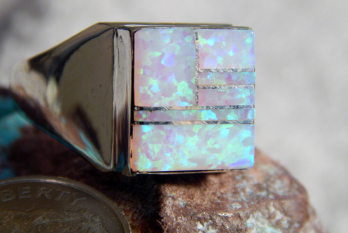 New Sterling Silver Created Opal  Inlay Navajo Ring By Wilbur Gray Size 10
