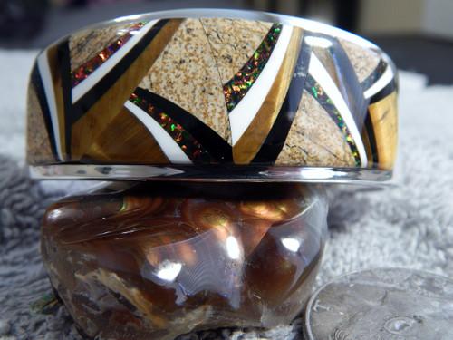 New Sterling Silver Jasper Multi Stone  Inlay Bracelet Navajo Calvin Begay