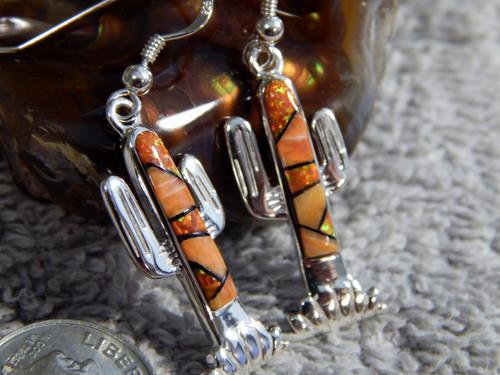 Sterling Silver Spiny Created Opal Cactus Inlay Ladies Earrings Navajo James Lee