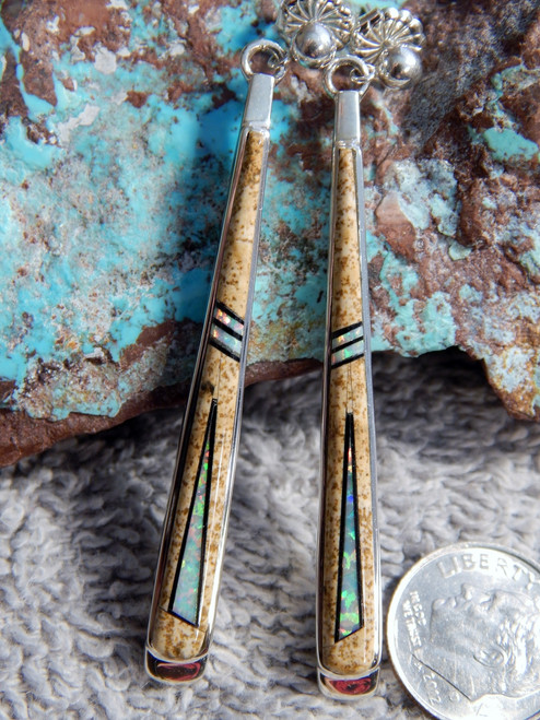 Sterling Silver Jaser Created Opal Inlay Ladies Earrings Navajo Marty Yazzie