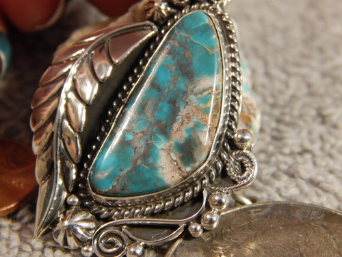 Smokey Bisbee Turquoise Sterling Silver Feather Pendant  Navajo Geraldine James