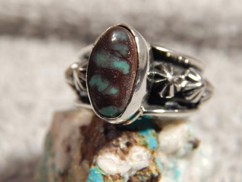Bisbee Turquoise Ladies Sterling Silver Ring Navajo Robert Shakey Size 6 1/4